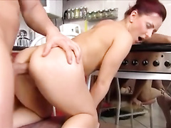 Euro slut up on the kitchen counter for balls deep anal sex
